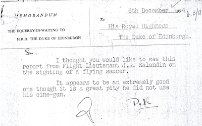Memo To Prince Philip Re Flying Saucer Sighitng 12-6-1954