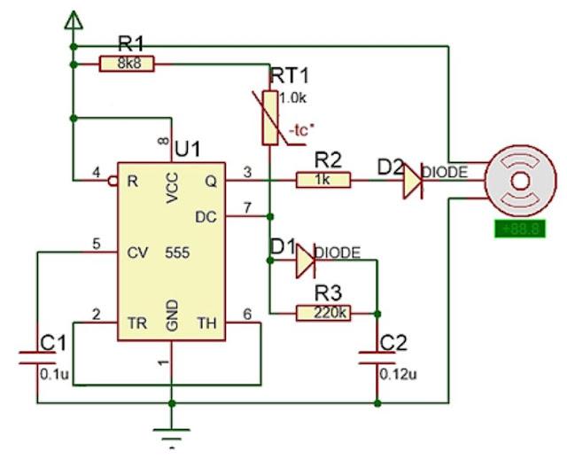 Implementasi sensor NTC dengan Motor Servo