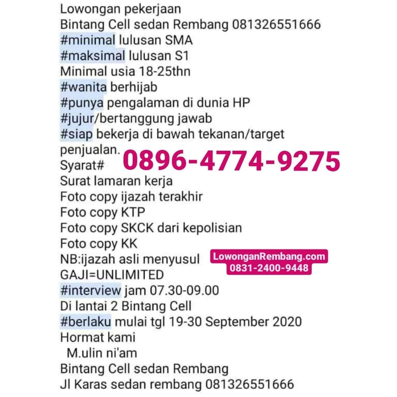 Lowongan Kerja Bintang Cell Desa Karas Kecamatan Sedan Kabupaten Rembang