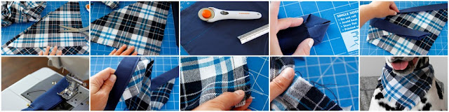 Step-by-step making a fringed flannel dog banada