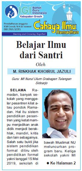 Tulisan Hari ke-24 Program Cahaya Ilmu Ramadhan tahun 2019