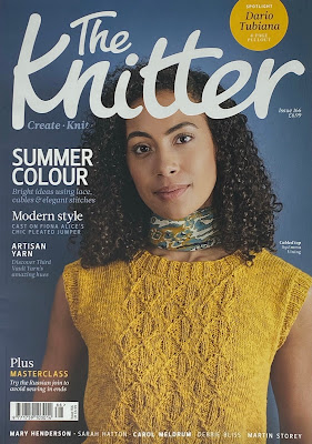 Image of The Knitter Magazine cover with model wearing a gold colour knitted top