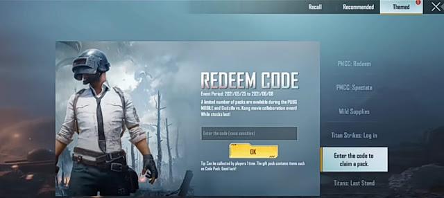 PUBG Mobile new Redeem codes claim free rewards