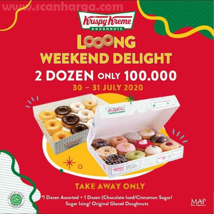Krispy Kreme Weekend Delight Promo 2 Dozen Donut Hanya Rp 100.000 Periode 30 - 31 Juli 2020