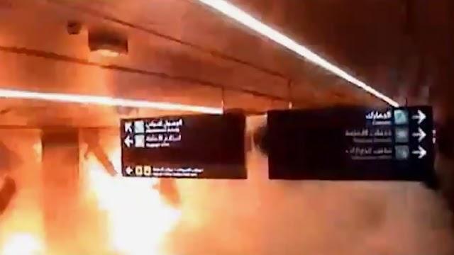 شاهد.. لحظة سقوط صاروخ الحوثيين على مطار أبها بالسعودية