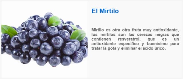 Mirtilo es otra otra fruta muy antioxidante, los mirtilos son las cerezas negras que contienen resveratrol, que es un antioxidante específico y buenísimo para tratar la gota y eliminar el ácido úrico
