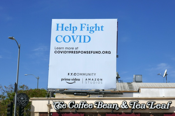 Help Fight Covid FYCommunity Amazon billboard