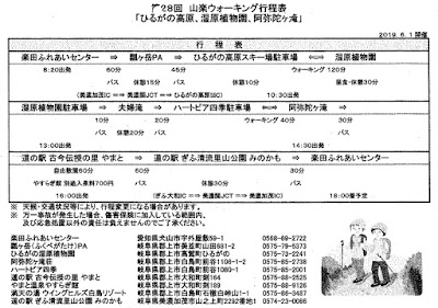 第28回 山楽ウォーキング行程表