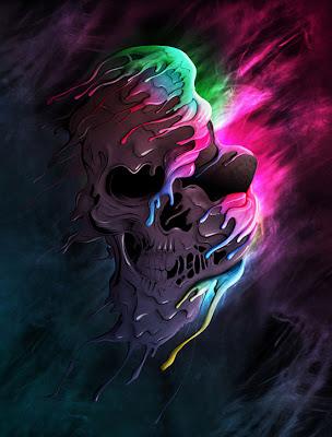 Ilustración de craneo muy colorida.