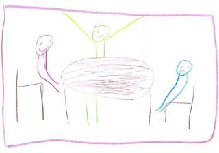 Drei Männchen am Runden Tisch. Eins reißt die Arme hoch, eins hat den Mund nach unten gebogen.