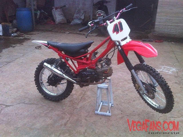 Vega R New Merah Modif Motor Trail