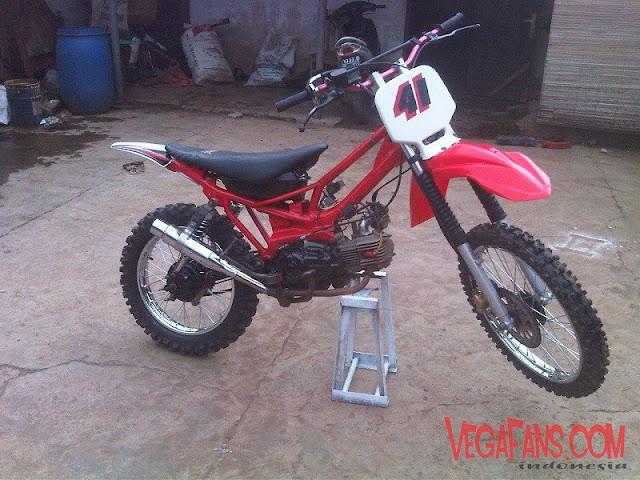 Vega R New Merah Modif Motor Trail