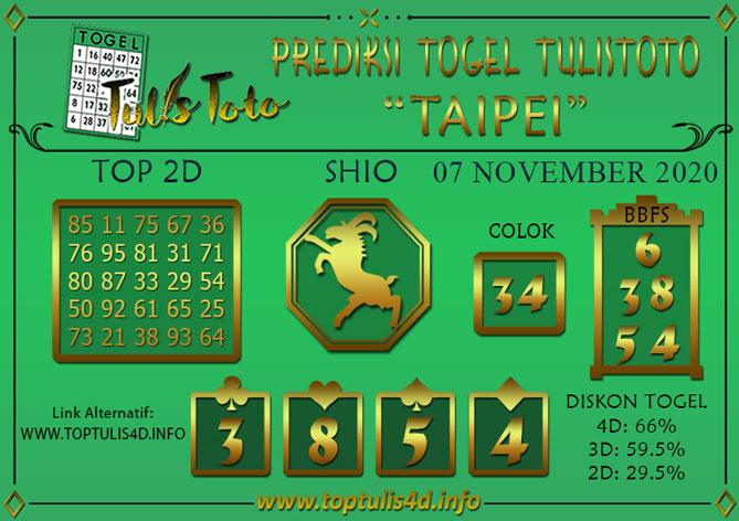 Prediksi Togel TAIPEI TULISTOTO 07 NOVEMBER 2020