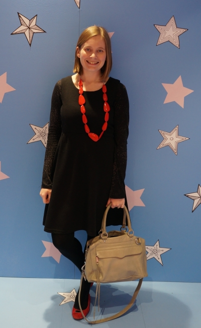 black printed tee under sleeveless fit adn flare dress with red acccessories and rebecca minkoff MAM bag for office winter | away from the blue