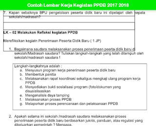 Contoh Lembar Kerja Kegiatan PPDB 2017 2018