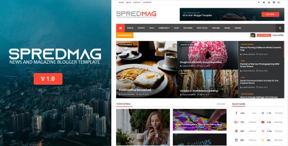 SpredMag Responsive Magazine Blogger Templates