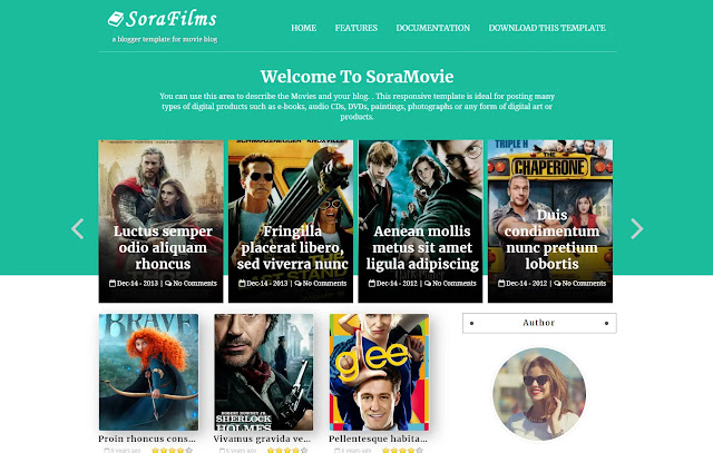 Sora Films Responsive Personal Blog Magazine Streaming Site News Site Download Movie Blogger Template Theme