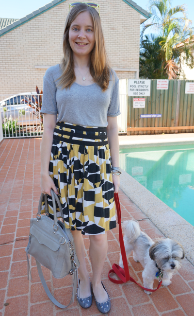 casual friday summer outfit grey tee printed skirt RM MAM bag