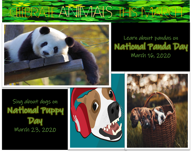 Learn about pandas and sing about puppies in honor of their national days.