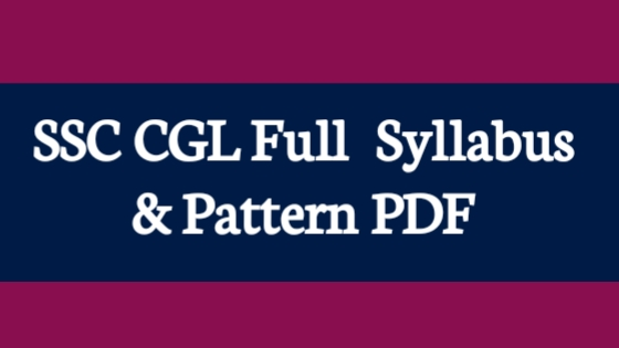 SSC CGL Exam Full Syllabus