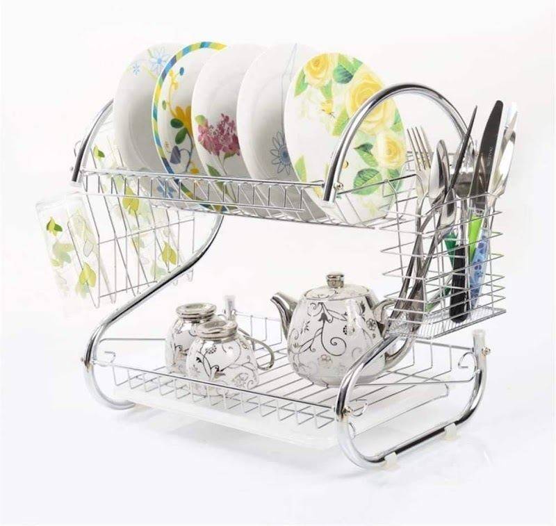 80%  off 2 Tier Sink Dish Drying Rack,S-shaped Dual Layers