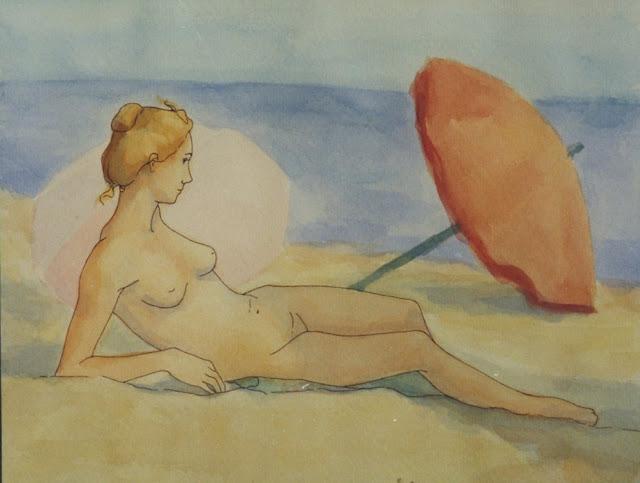 Cristina Alonso arte original acuarela desnudo en la playa