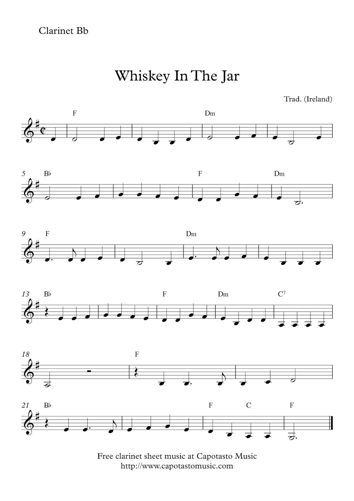 Clean image with free printable clarinet sheet music