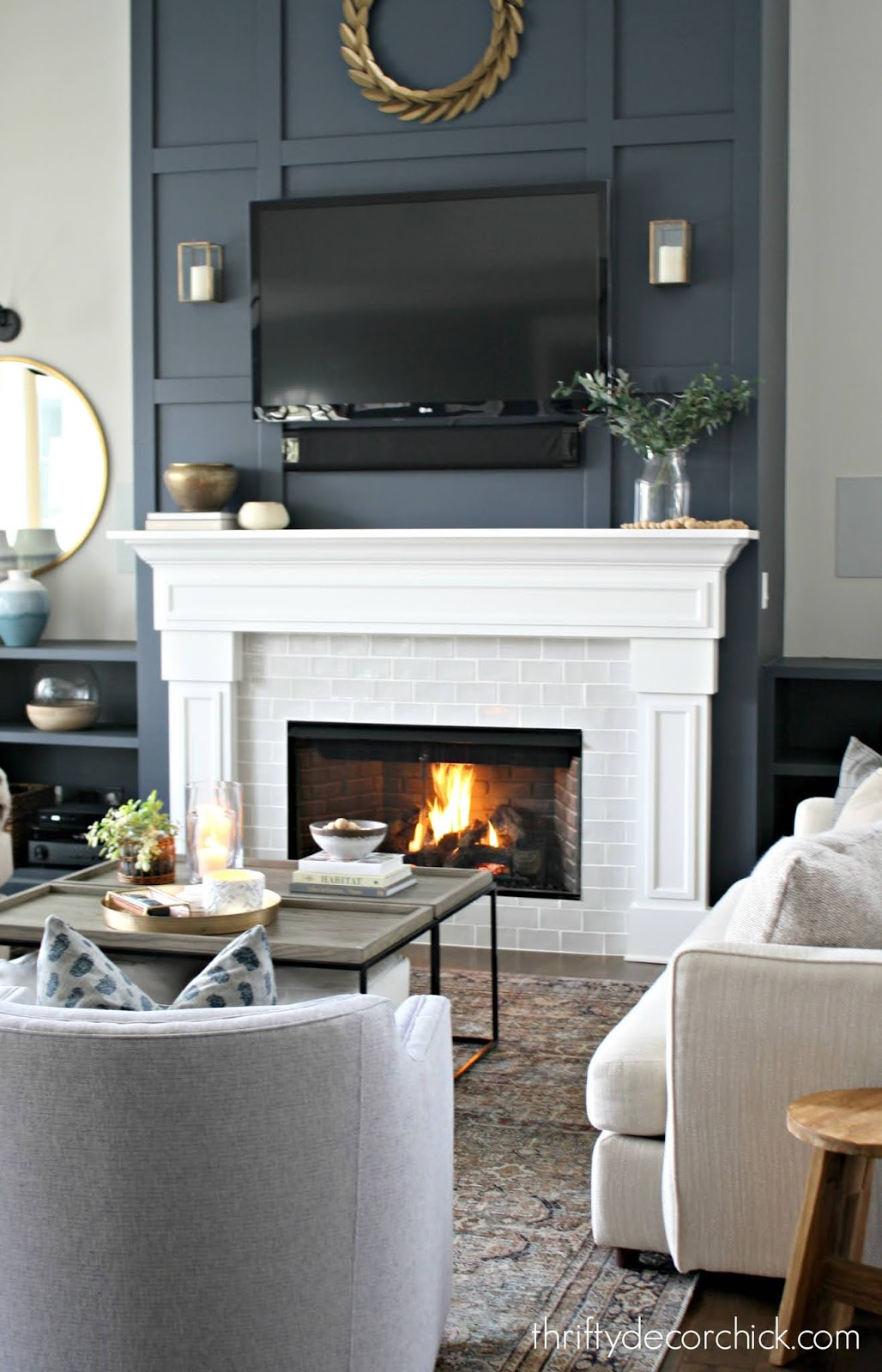 Tall gas fireplace family room