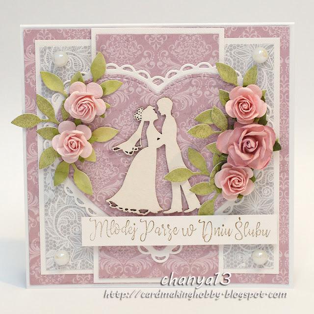 369. Kartka ślubna z młodą parą w sercu