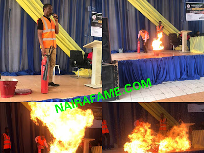 Moment Fire Catches Stage After Trying To Teach People How To Quench Fire. PHOTOS