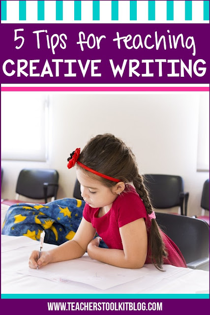 "Image of an elementary student sitting staring at a blank page, trying to write, with text ""5 tips for teaching creative writing"""
