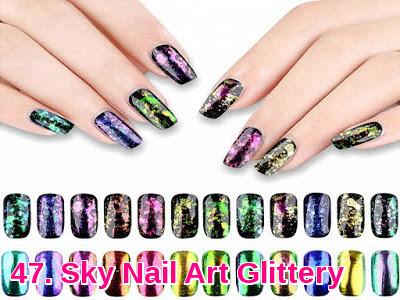 Sky Nail Art Glittery