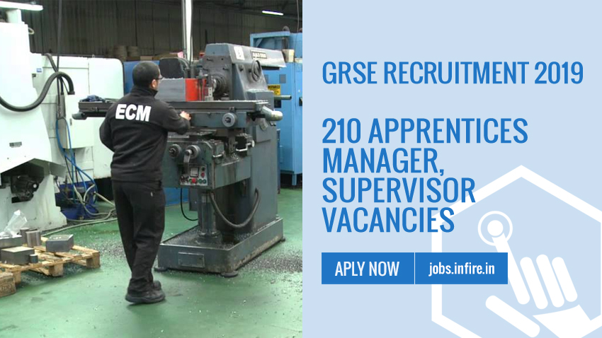 GRSE Recruitment 2019 - 210 Apprentices, Manager, Supervisor Vacancies - Apply Online