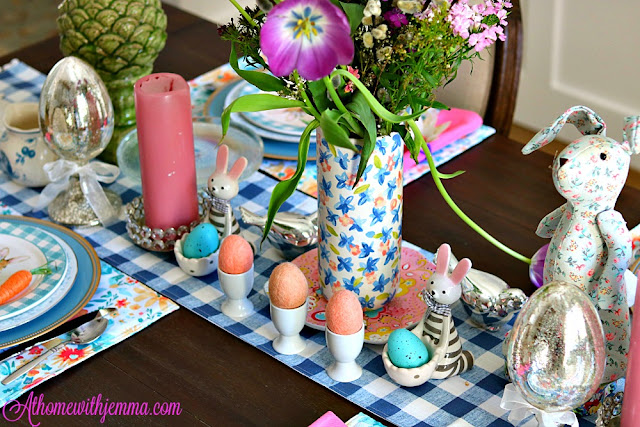 Blue, white, pink, flowers, tulips, decor, decorating, athomewithjemma.com