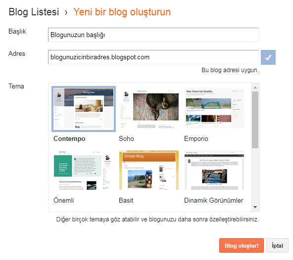 Blog oluştur