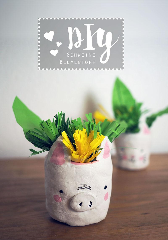 KuneCoco • DIY • Schweine-Blumentopf