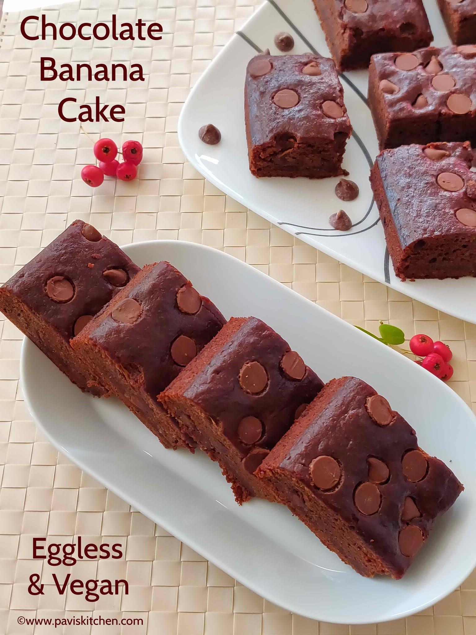 Eggless chocolate banana cake recipe | Vegan banana chocolate chip cake recipe