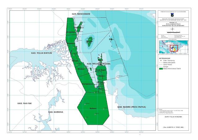 The administratif map of Teluk Wondama regency