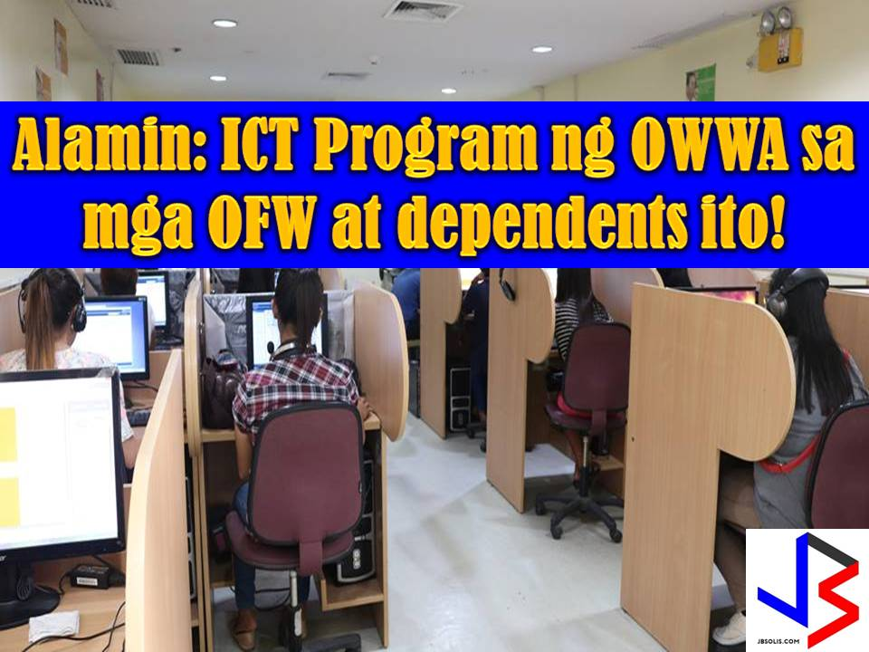 ICT or Information and Communication Technology is a skills training program of Overseas Workers Welfare Administration (OWWA) that aims to bridge the communication gap through the use of internet between OFW and his or her family.  The program is given for free for OFWs and their dependents where they can learn on how to use the basic application such as Microsoft Word, Excel and Powerpoint.  Other than this, digital media fundamentals, web design fundamentals, word processing fundamentals and presentation fundamentals are being taught.