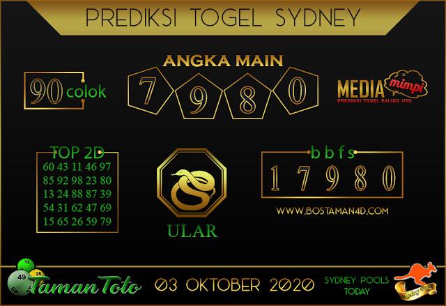 Prediksi Togel SYDNEY TAMAN TOTO 03 OKTOBER 2020