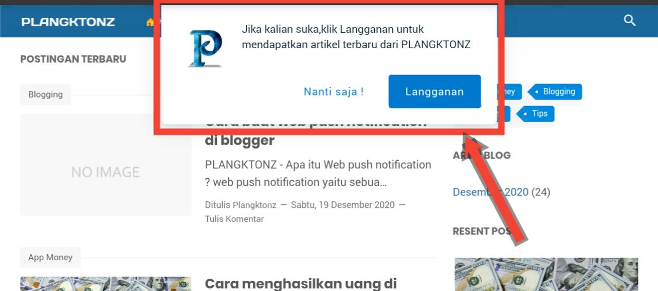 Cara buat web push notification di blogger