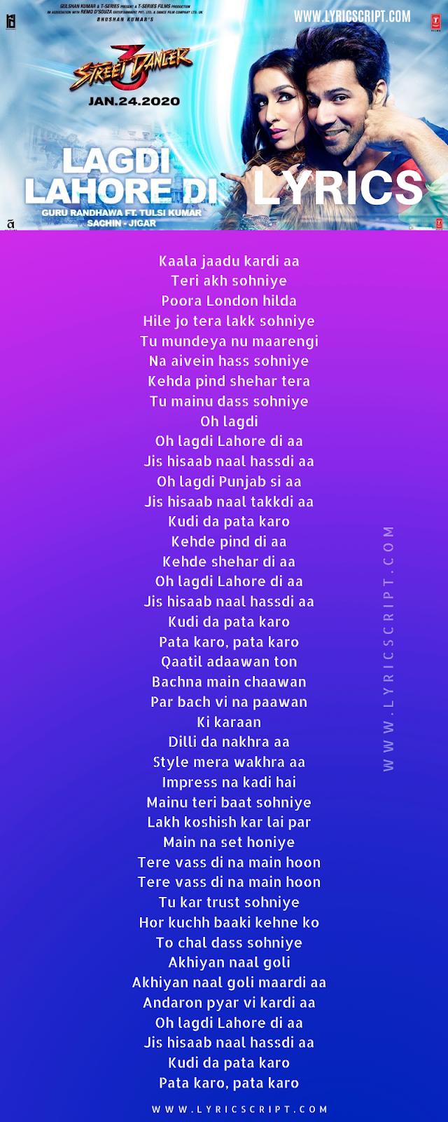 Lagdi Lahore Song Lyrics