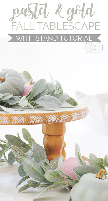 Pastel and gold fall tablescape decor. Pastel fall decorating ideas. Non-traditional fall decor. DIY fall dining room decor. Pastel thanksgiving decor and ideas.