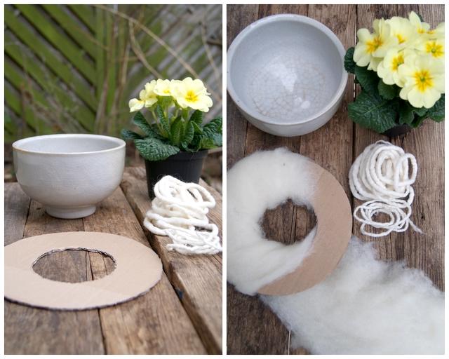DIY Material für Wollmanschette für Primel Pappe, Filzwolle, Filzschnüre