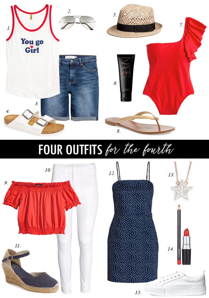 red, white, and blue outfits