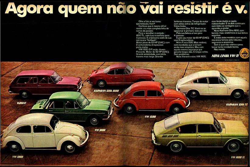 Propaganda antiga da Volkswagen apresentando sua linha de automóveis para o ano de 1971