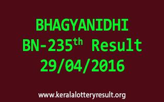 BHAGYANIDHI BN 235 Lottery Result 29-4-2016