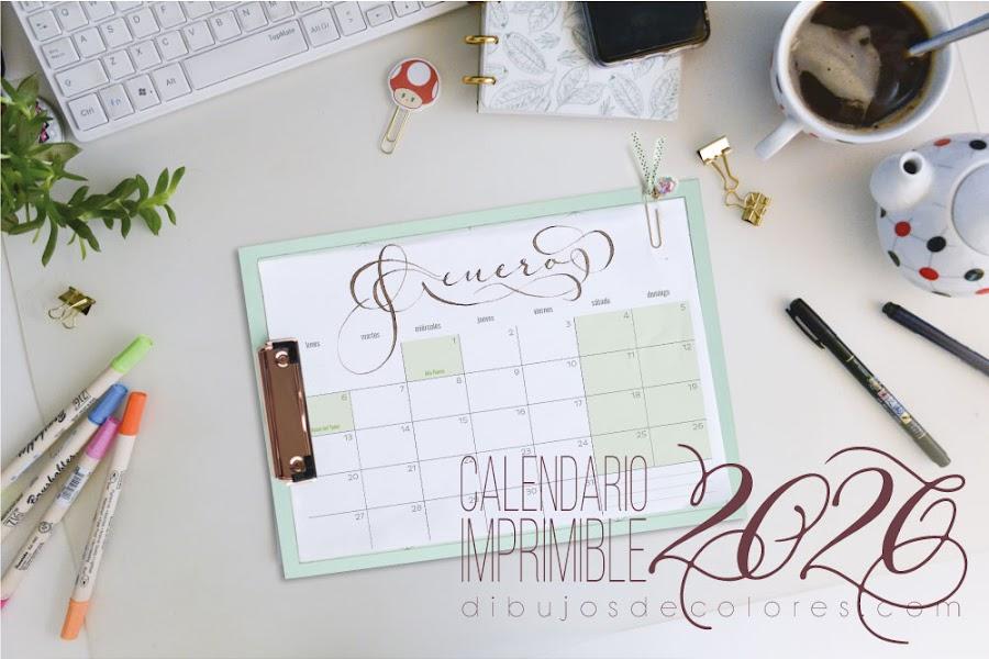 calendario imprimible 2020