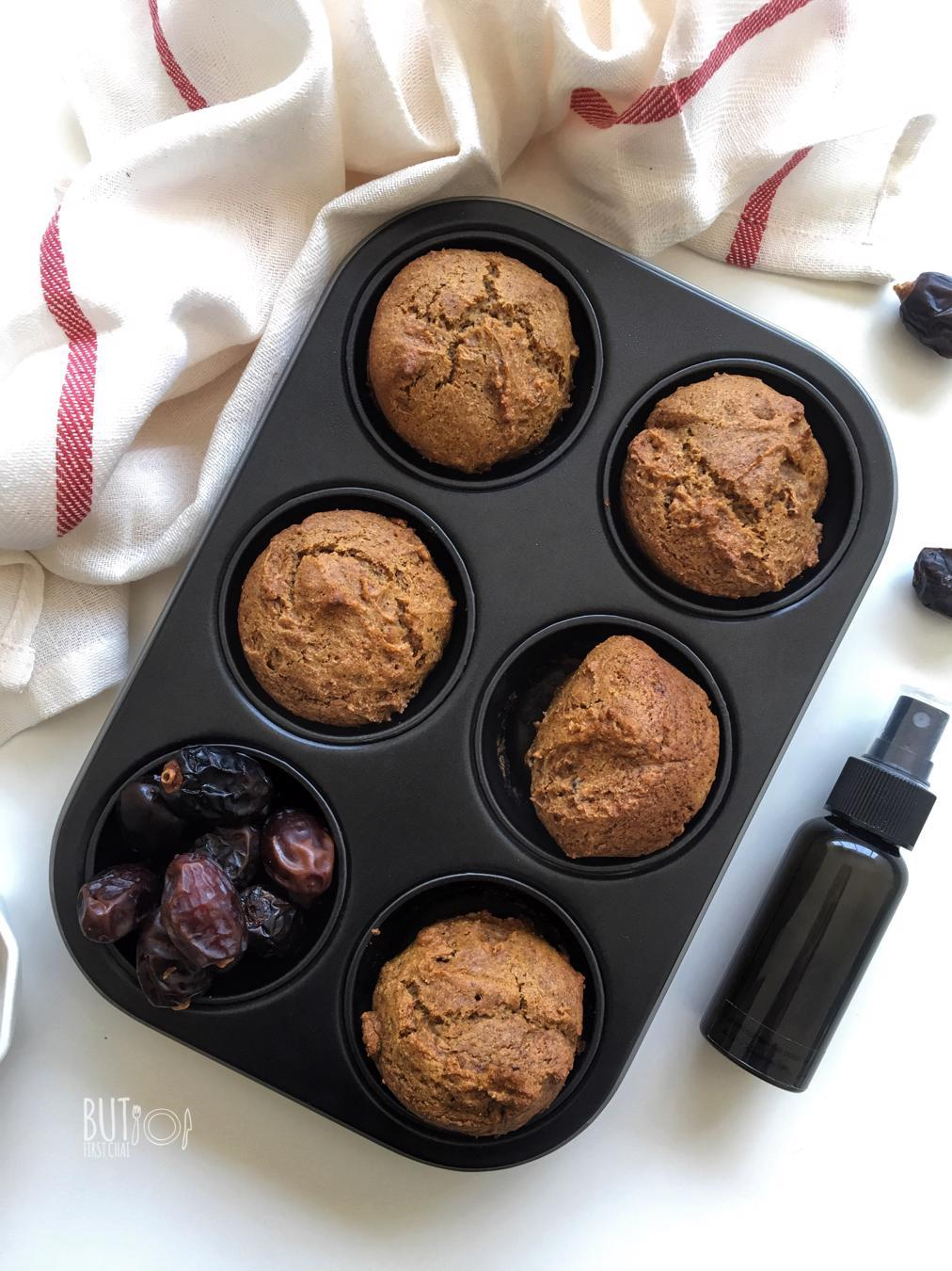 Eggless Dates Muffin and DIY Non-stick Spray