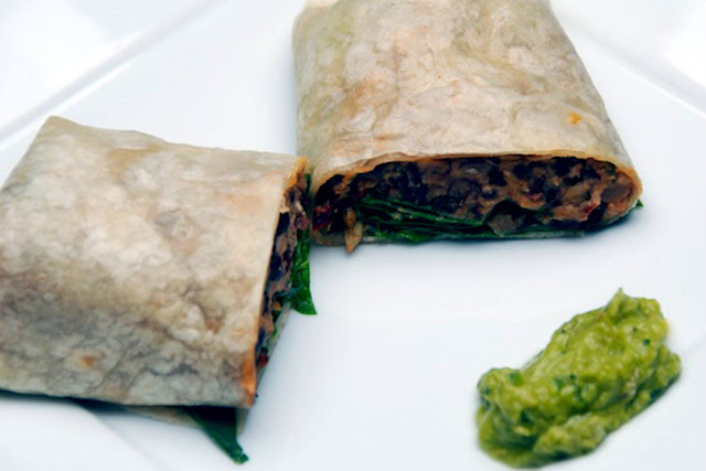 Fort Lauderdale Personal Chef - SMOKY BLACK BEAN & CHEDDAR BURRITO WITH BABY SPINACH